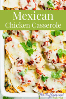close up of mexican casserole with text overlay
