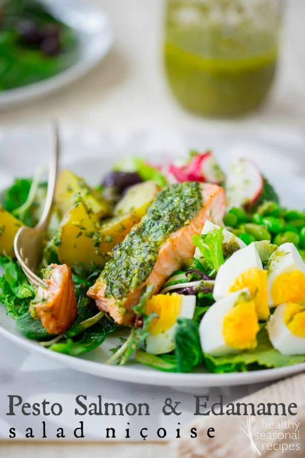 Composed salad niçoise with pesto baked salmon and edamame | Healthy Seasonal Recipes by Katie Webster