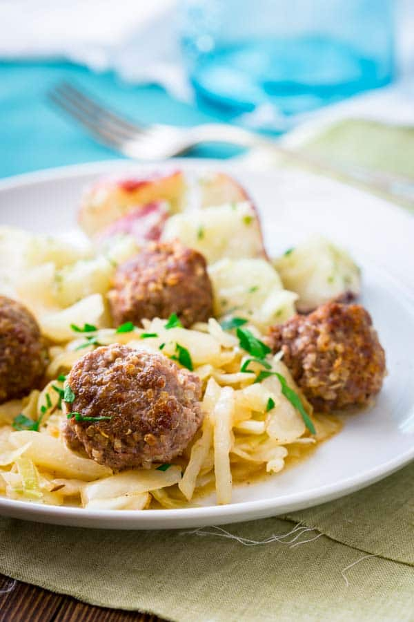 Pork Meatballs with Sauteed Cabbage |Healthy Seasonal Recipes #glutenfree