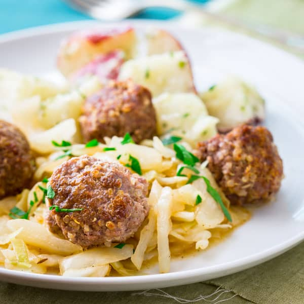 pork meatballs with sauteed cabbage