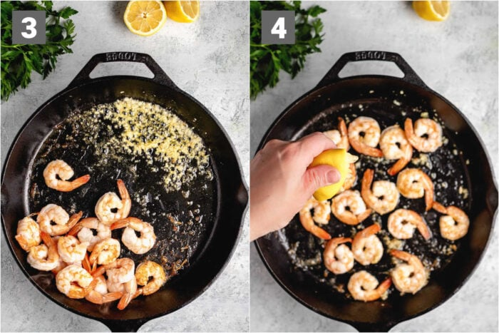 cook the garlic on the side of the pan