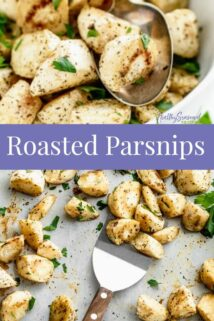 a collage of roasted parsnip photos with text overlay