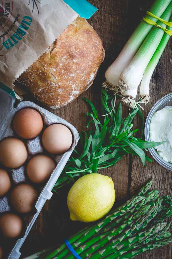 My basket of groceries included fresh local eggs, Vermont fresh chevre, ciabatta, green garlic, asparagus and organic lemon #HLSpringMealChallenge