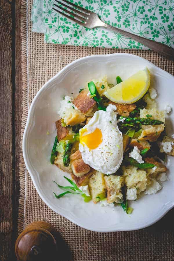 Asparagus Panzanella with Poached Eggs, made with lemon zest, chevre and tarragon. HealthySeasonalRecipes