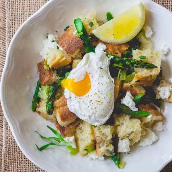 asparagus panzanella with poached eggs