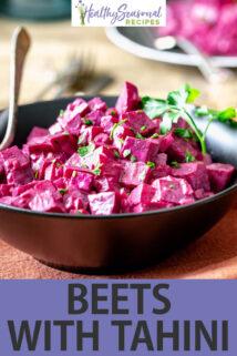side angle black bowl beets