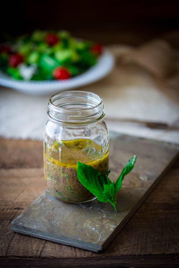 Simple 10 minute Kalamata Olive and Basil Vinaigrette recipe. Perfect ...