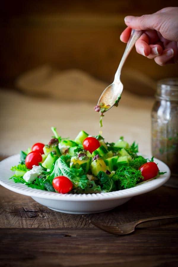 10 minute kalamata olive and basil vinaigrette   Naturally gluten-free healthyseasonalrecipes.com