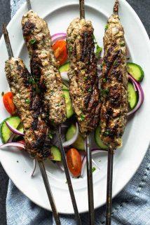 lamb kofta kebabs on a platter