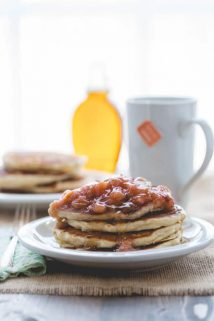Lemon Almond Ricotta Pancakes with Rhubarb Maple Compote