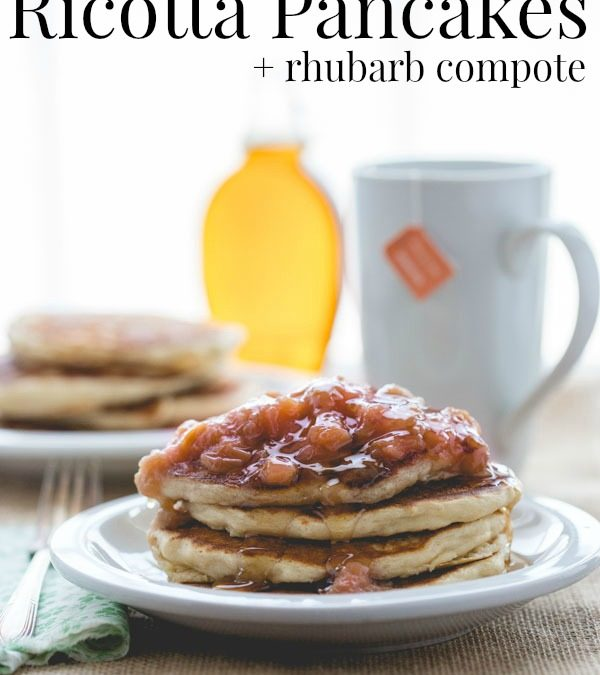 lemon almond ricotta pancakes with rhubarb compote