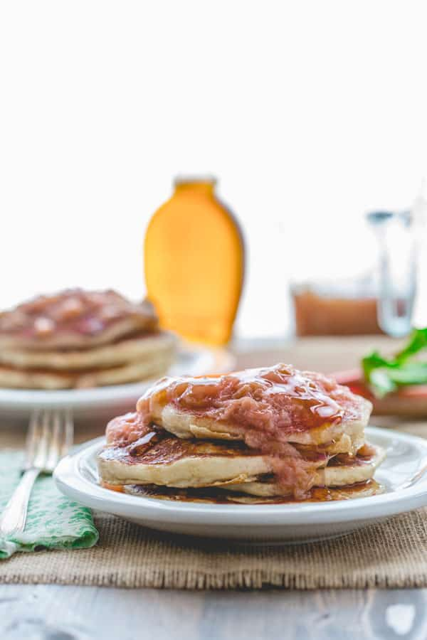 lemon almond ricotta pancakes with rhubarb compote