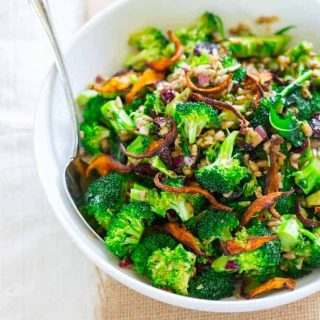 Vegan and Gluten-free Broccoli Salad on Healthy Seasonal Recipes with cranberries, sunflower seeds, roasted shiitakes and miso dressing