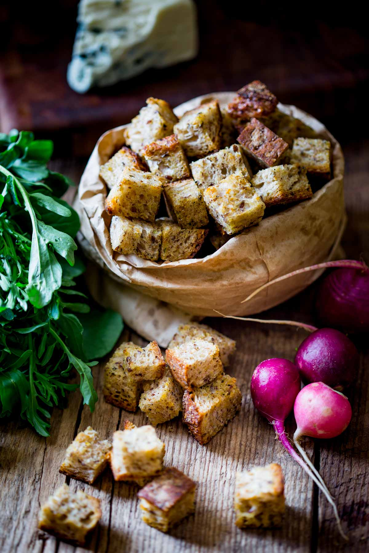 a bag of croutons with salad ingredients