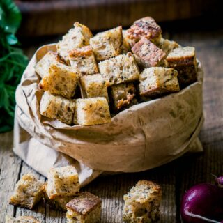 croutons in a paper bag