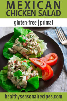 side angle lettuce cups with mexican chicken salad