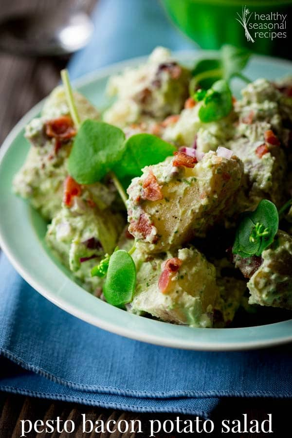 Lightened-Up Pesto Bacon Potato Salad   Healthy Seasonal Recipes