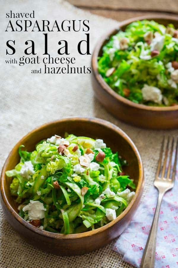 shaved asparagus salad with goat cheese and hazelnuts