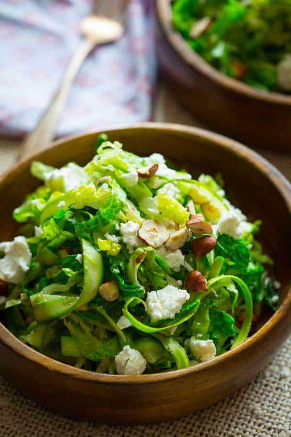 shaved asparagus salad with goat cheese and hazelnuts ...