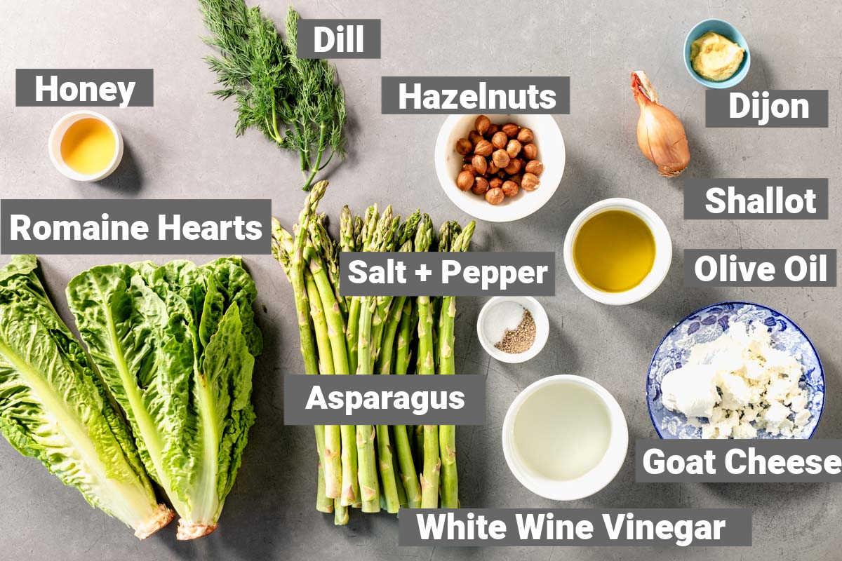 ingredients for shaved asparagus salad