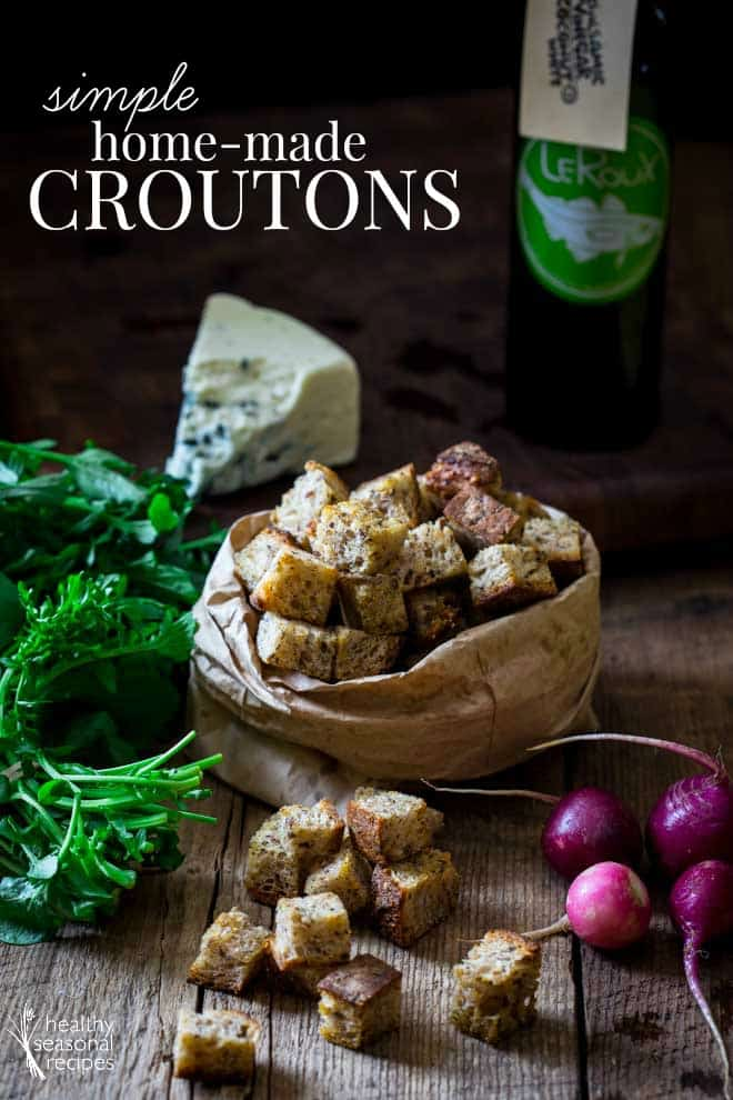 simple homemade croutons in a bag