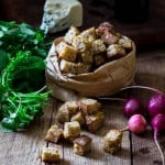 whole-grain croutons are so simple to made at home,. All you need is bread, oil and a little seasoning.