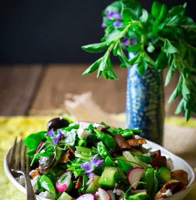 snap pea, mint and feta fattoush salad