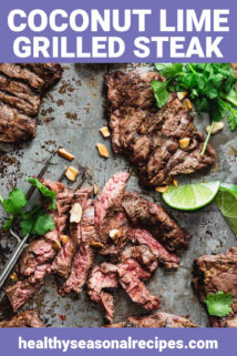 Skirt steak with cilantro and lime on a baking sheet