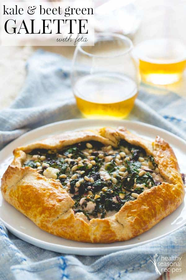 kale and beet green galette with feta | healthy seasonal recipes