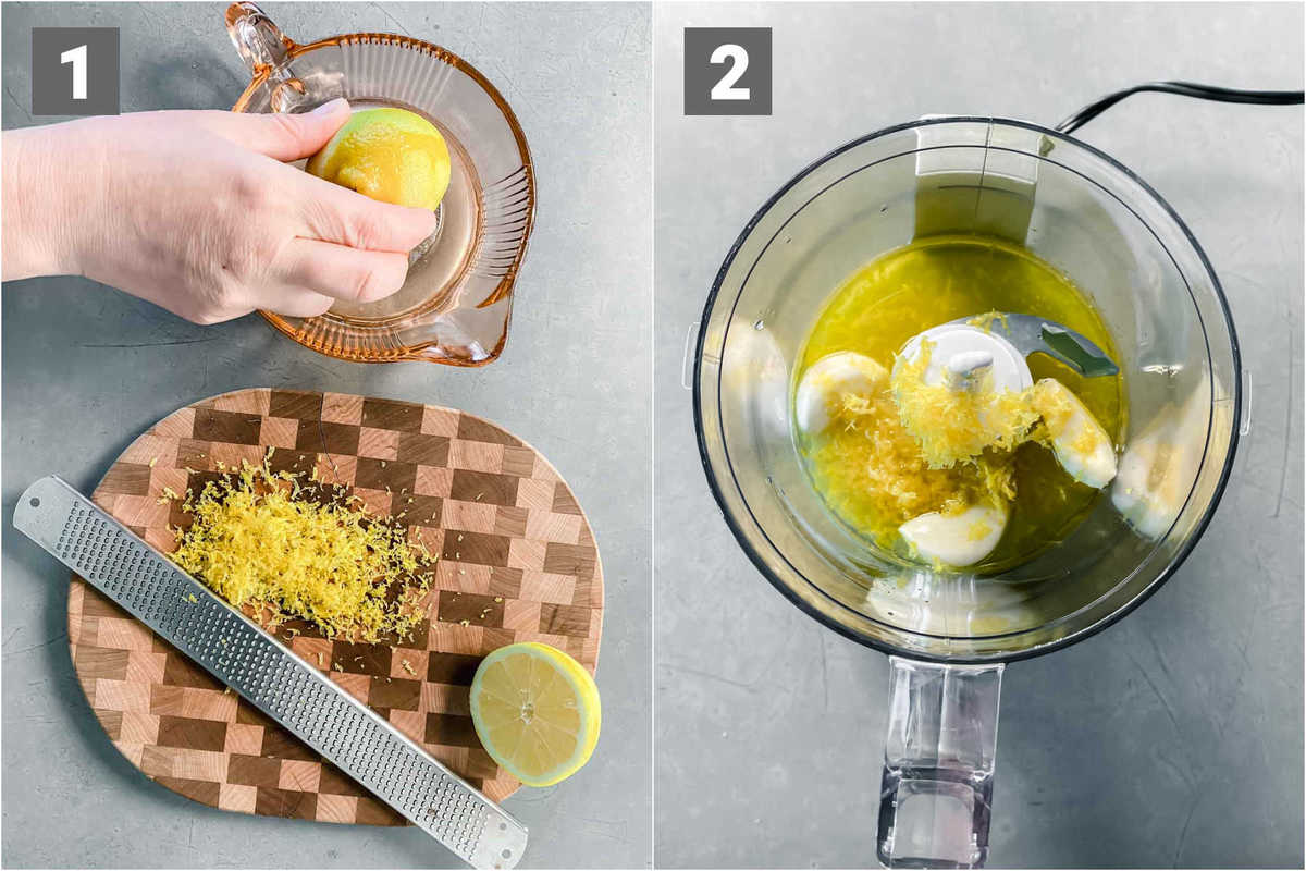 zest and juice the lemon, combine the lemon, garlic and oil in the food processor