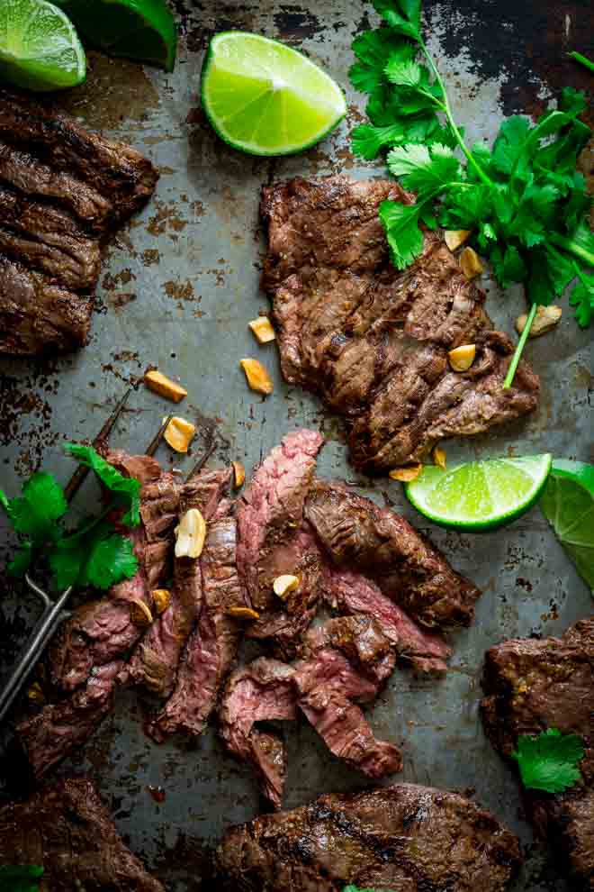 Grilled Thai Coconut Lime Skirt Steak Recipes {Paleo and Gluten-free} on HealthySeasonalRecipes.com by Katie Webster