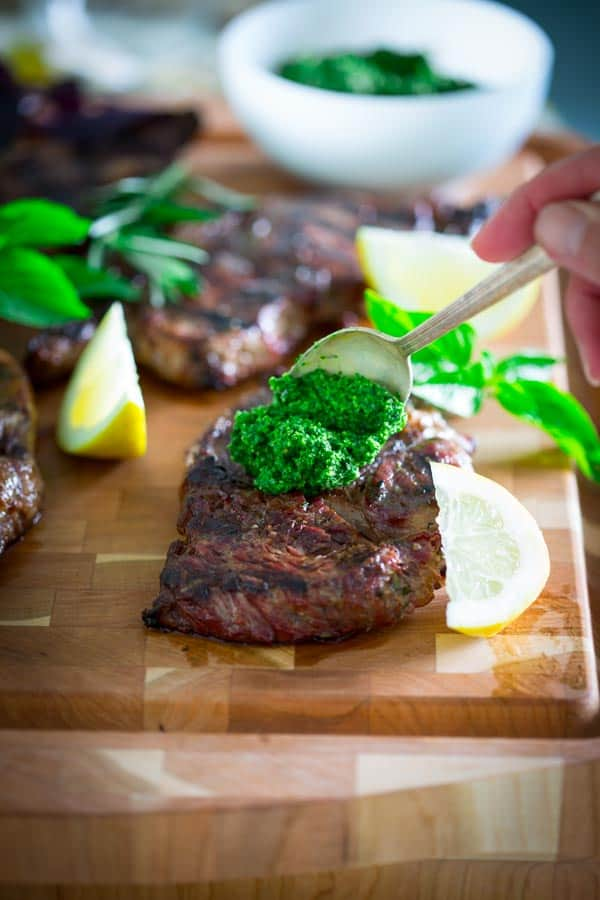 Garlic Rosemary Rib Eye Steaks with Kale Walnut Pesto ...