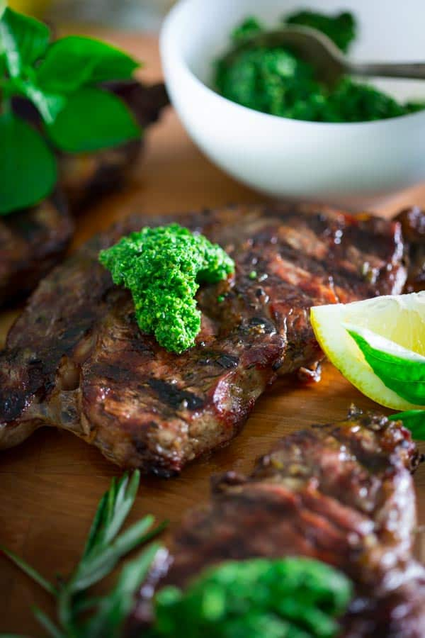 Grilled Rib-Eye Steaks With Parsley-Garlic Butter Recipe ...