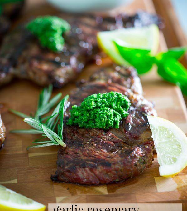 garlic rosemary steaks with kale walnut pesto
