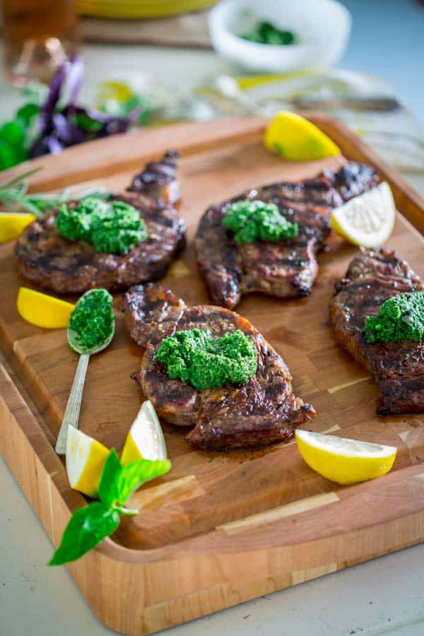 Garlic Rosemary Rib Eye Steaks with Kale Walnut Pesto | HealthySeasonalRecipes.com