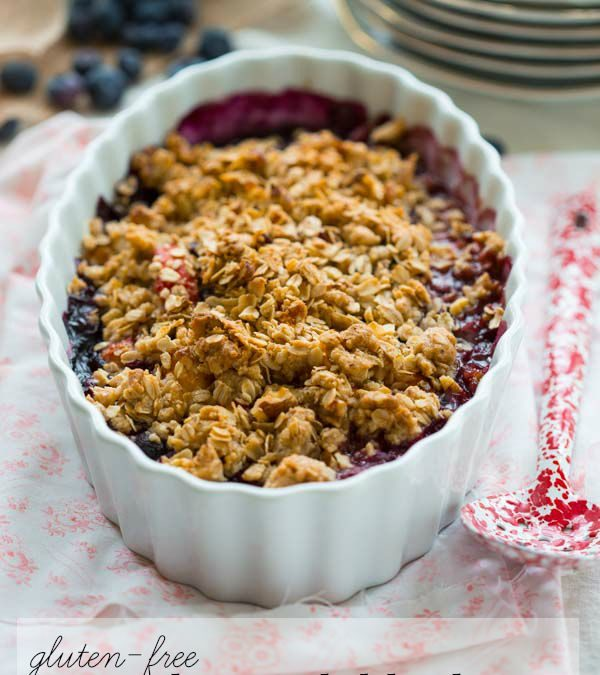 gluten free maple peach blueberry crisp