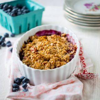 Gluten-free Maple Peach Blueberry Crisp | Healthy Seasonal Recipes