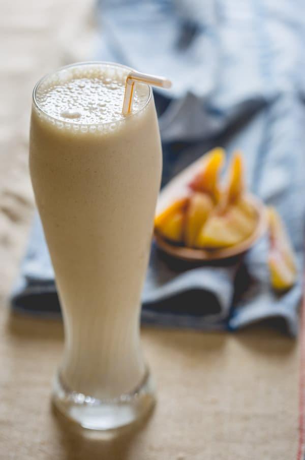 Peach Cobbler Smoothie | Primal and High Protein on healthyseasonalrecipes.com