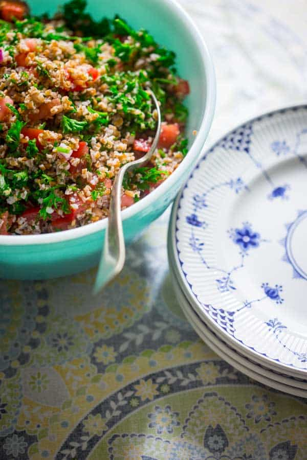 tabbouleh salad in a serving bowl