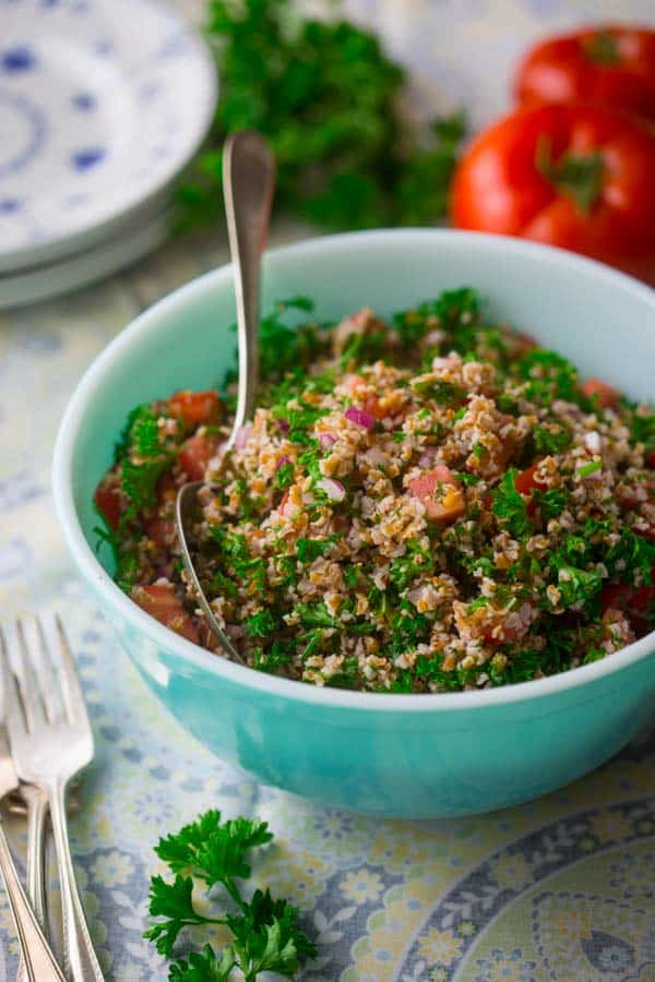 tabbouleh salad in a blue bowl