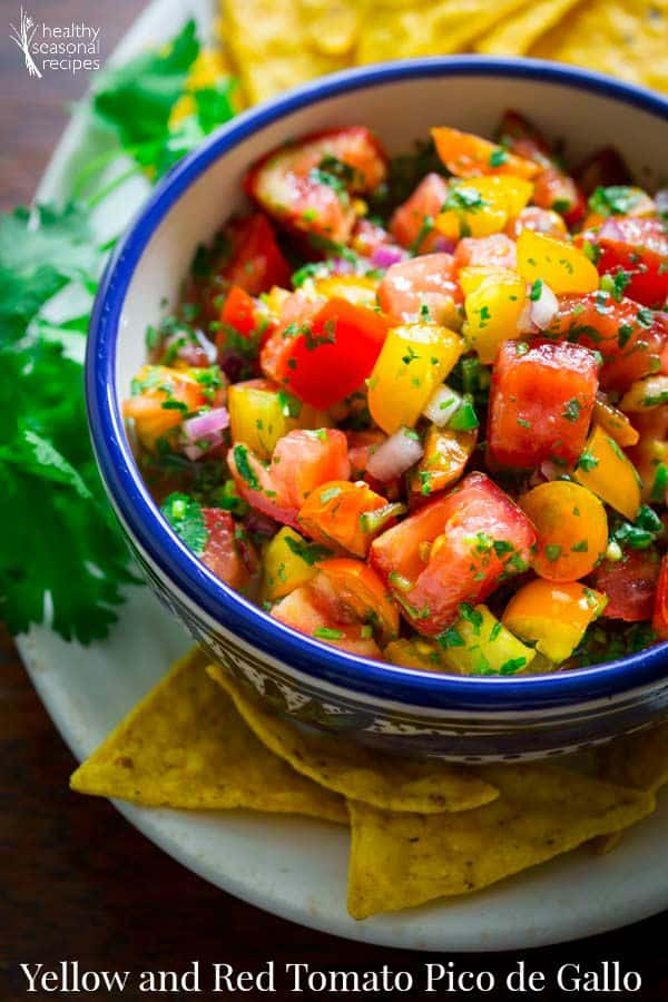 Yellow and Red Tomato Pico de Gallo and What to do with yellow tomatoes on healthy seasonal recipes