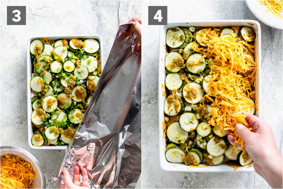 cover the casserole with foil. Bake 1 hour then remove foil and add the second half of the cheese