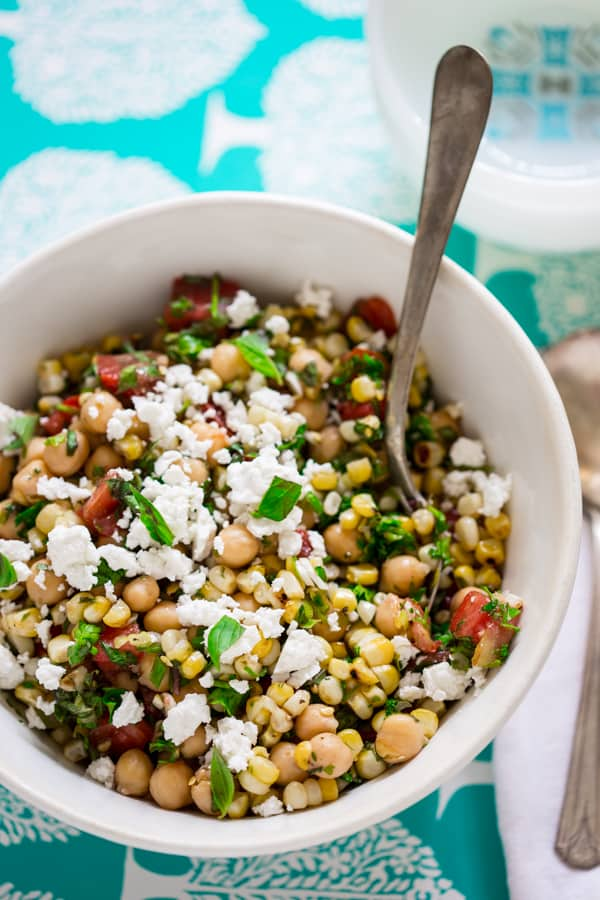 chickpea and grilled corn salad in a bowl