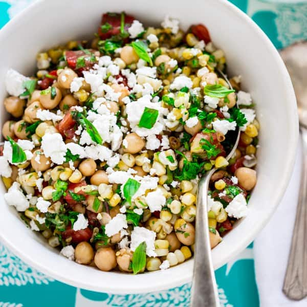 grilled corn and chickpea salad