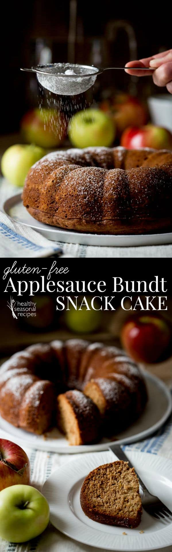 This gluten-free applesauce bundt snack cake is one of those recipes I have made over and over again. It is made with brown rice flour (that means it's whole grain) and it is sweetened with honey. #glutenfree #applesauce #apples #baking #snack #healthy