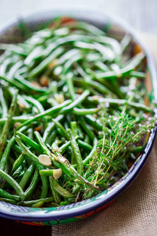 Roasted Green Beans with Almonds and Thyme on Healthy Seasonal Recipes