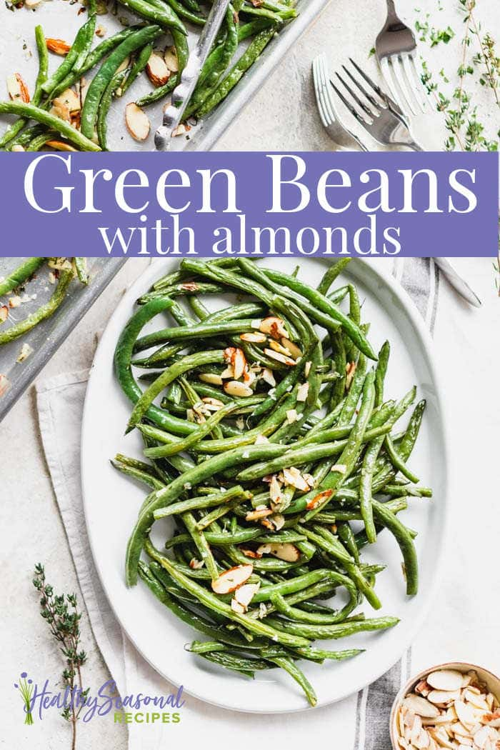an oval platter with green beans with a roasting pan and text