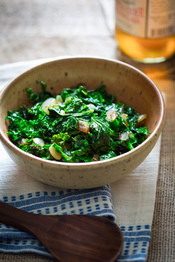 Sauteed Kale with Cider Vinegar in a large bowl