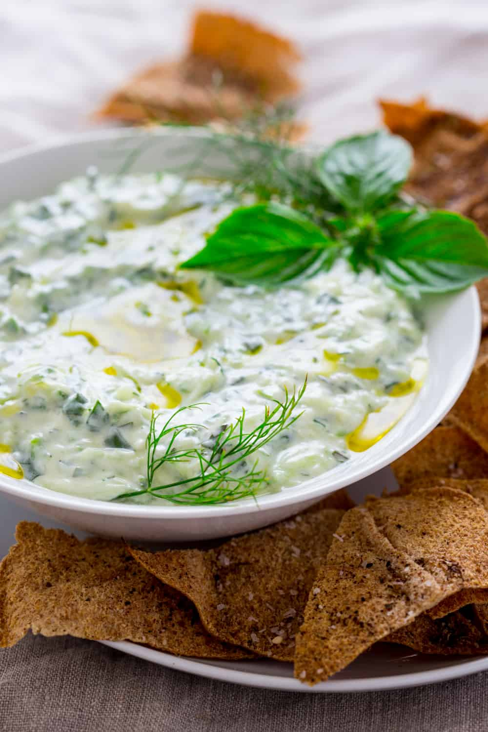 Tzatziki with Za'atar Pita Chips | healthy seasonal recipes