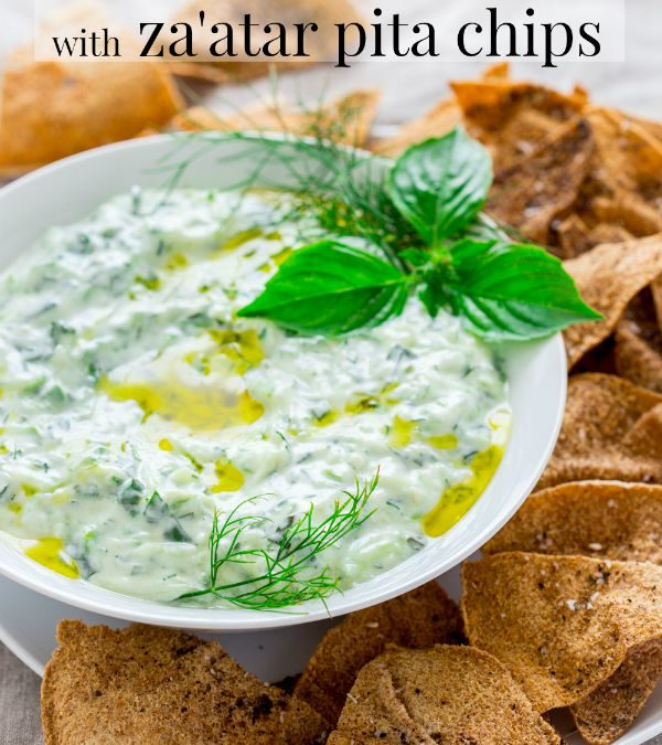 tzatziki with za'atar pita chips